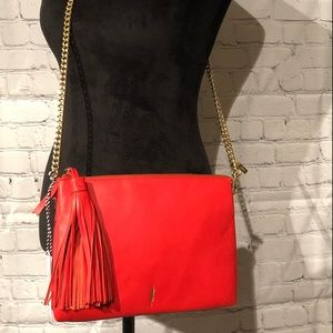 Thacker Coral Leather Shoulder Bag